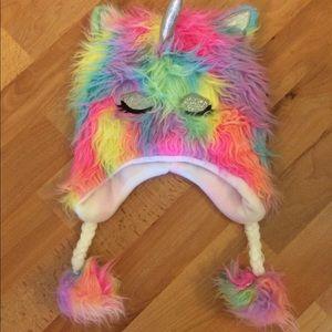 Girl's Fuzzy Rainbow Unicorn hat
